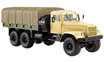 KRAZ-255B1 flatbed truck with tent